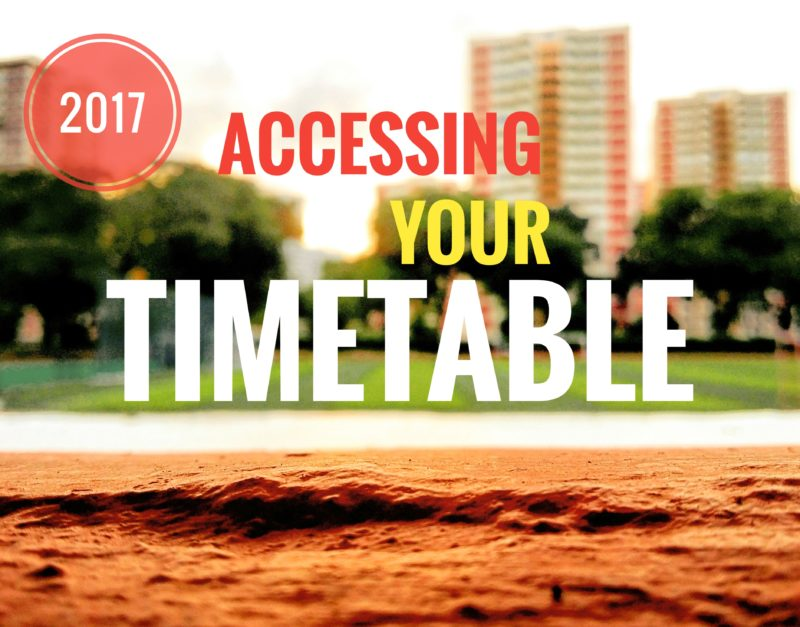 Accessing 2017 Timetable